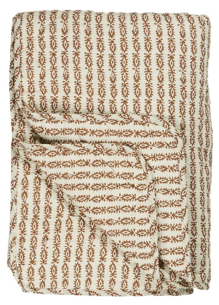 Ib Laursen Quilt Indien Fleur Rouille Marron Couverture Couvre-Lit 130x180