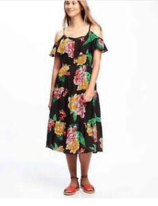 c87b7fc9d271b Old Navy Women s Black Floral Ruffled Cold Shoulder Dresses Size ...
