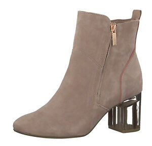 Details about Tamaris x Marcel Ostertag 25301 old rose block heel suede ankle boots beige 3 8