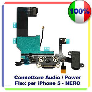 CONNETTORE-CARICA-DOCK-MICROFONO-RICARICA-AUDIO-FLEX-PER-IPHONE-5-NERO