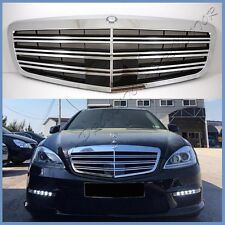 For W221 10-13 BENZ S-Class S65AMG Type 3 Fins Chrome Front Grille Hood & Emblem