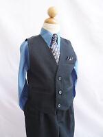 Black navy dark blue toddler teen boy's vest with tie tuxedo formal suit set