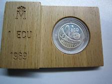 Spain Spanien Europa 1 ECU 1989 PP Münze Medaille Silber 925 in Holzfassung