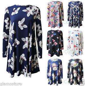 Women-Printed-Long-Sleeve-Swing-Skater-Dress-Ladies-A-Line-Swing-DressPlus-Size