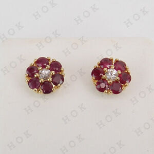 2-25-Ct-Ruby-and-White-Diamond-Flower-Shape-Stud-Earrings-14K-Yellow-Gold-Finish