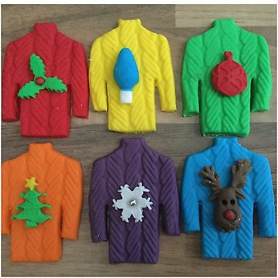 6 Edible Christmas Rainbow Jumpers Sugar Cake Cupcake Decorations Toppers