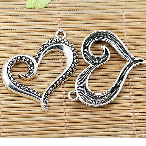 70pcs tibetan silver color heart frame charms EF2371