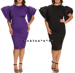 Plus-Size-Ruffle-Flutter-Sleeve-Bodycon-Midi-Dress