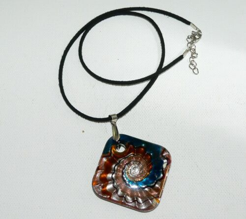 Anhänger Glas Lampwork Murano Art goldsand silberfolie petrol topas   316t