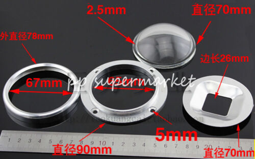 70mm Lens 90mm Fixed bracket For 20W-100W LED 78mm Reflector Collimator Base