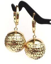 18k Solid Yellow Gold Big Ball Hoop Dangle Earrings Diamond Cut Design 4.85Grams