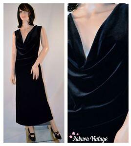 Black-VELVET-MAXI-Dress-sz-8-90s-Sleeveless-Full-Length-Scoop-Neck-Vintage-80s