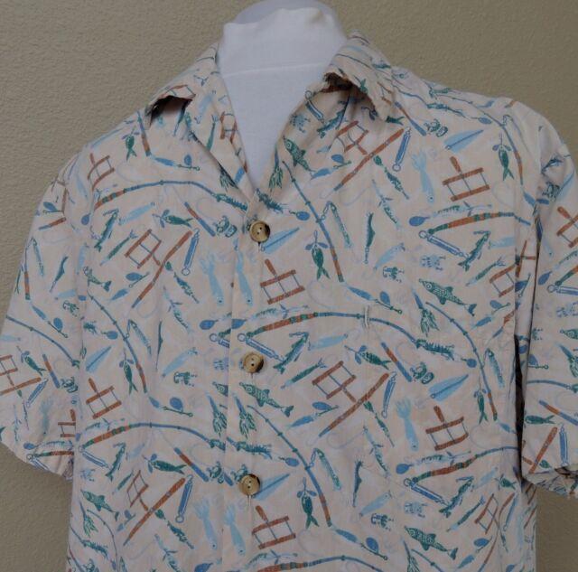 Kahala Hawaiian Shirt Reverse Print Mens XL Fish Rods Reels Lures Cream Hawaii