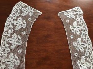 Antique-Pair-Matching-Shaped-NEEDLEWORK-Lace-Dress-Trims-24x4-Inches