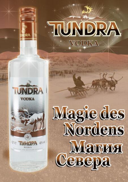 Russischer Vodka/Wodka  TUNDRA Alpha 3 Fl. x 0,7L,40 % + 2 Vodkagläser Gratis