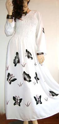 New Hand Drawn White Butterly Long Dress 12 14 16 18 20
