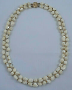 Vintage-Baroque-Pearl-Double-Strand-Necklace-Gold-Tone-Floral-Box-Clasp