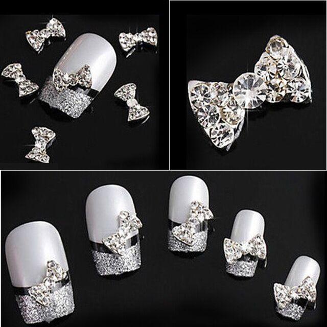3D Clear Rhinestone Nail Art Bows Crystal Gems FREE P&P UK STOCK