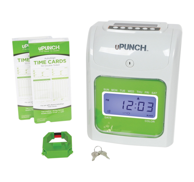 1 Ribbon /& 2 1 Time Card Rack uPunch Starter Time Clock Bundle with 100-Cards