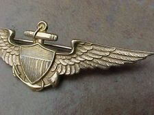 ORIGINAL PRE WWII RARE H&H PATTERN USN NAVAL AVIATOR WINGS - 14K GOLD