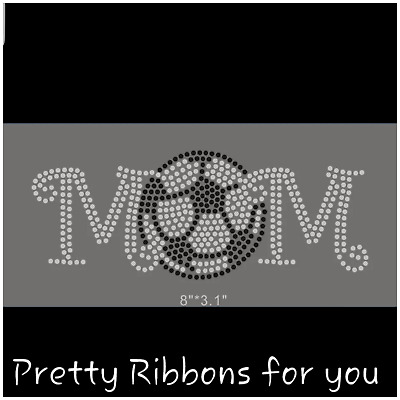 "HOTFIX RHINESTONE HEAT TRASFER IRON ON /""Silver Softball MoM Patch/"""