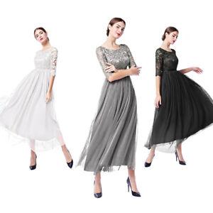 d5d9e00504d Elegant Women 3 4 Sleeve Lace Tulle Prom Evening Dress Cocktail ...