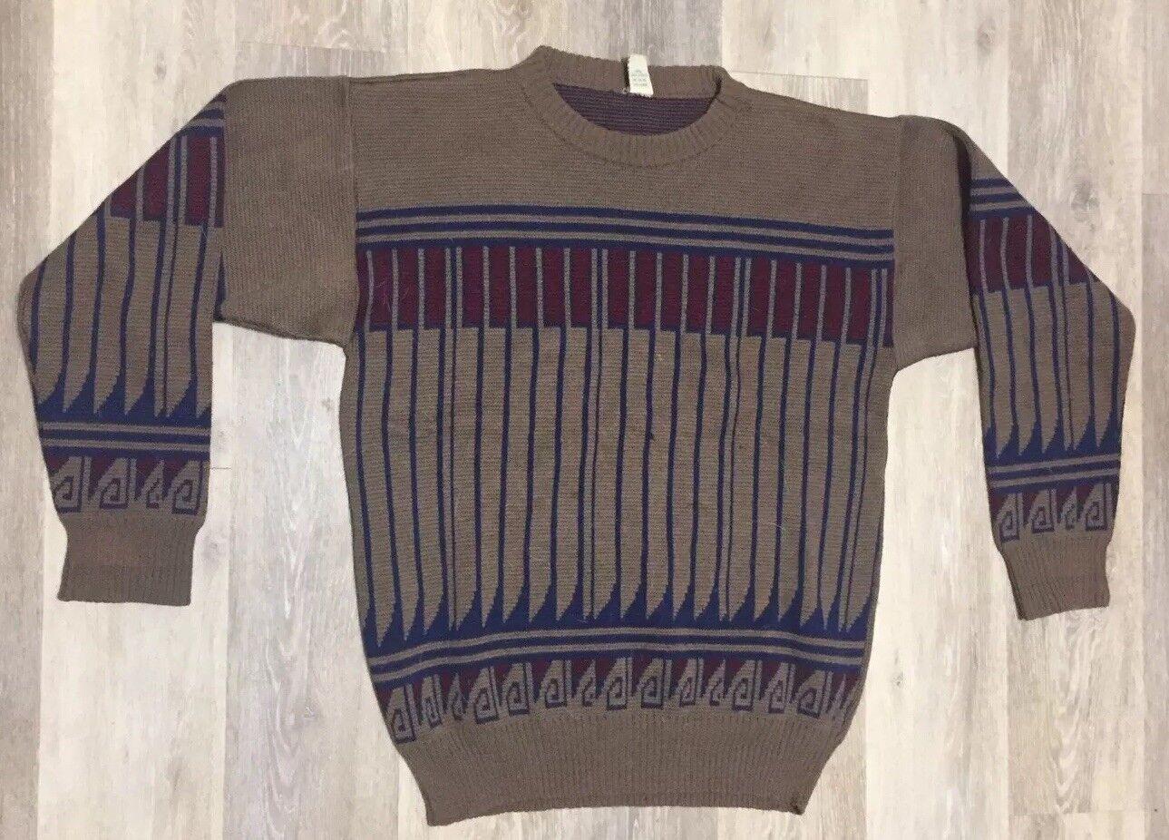 Vintage  Herren  Größe 48 Pure Virgin Wool Sweater Pure Laine Vierge Braun  192