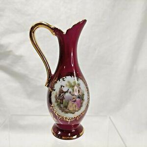 Limoges France La Reine Romantic Pitcher Vase Porcelaine