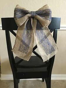 Burlap and Navy Blue Lace Pew Bow Chair Wedding Rustic Chic Primitive Wreath