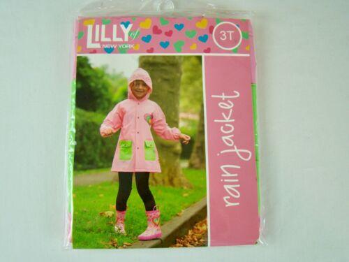 Size 3T Lilly of New York Girls/' Rainbow Heart Pink Rain Jacket Coat NEW