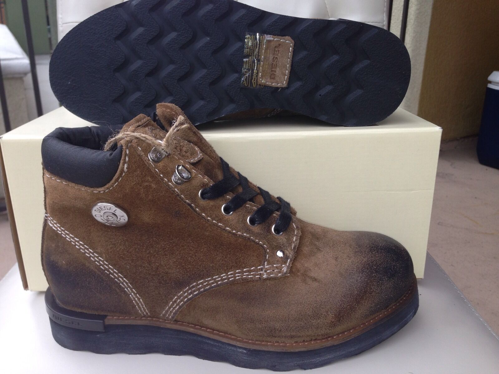 Diesel D.I.Y. Cub Y00239 Brown Leather Burnished Toe Men's Boots 225 Size 7.5