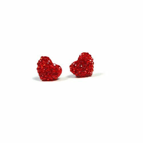 Valentine Crystal Pave Heart Stud Earring, New - Gift-Boxed