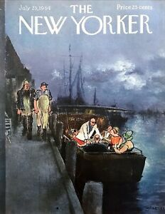 1964-Party-on-Boat-at-Dock-Fisherman-Saxon-art-July-25-New-Yorker-Mag-COVER-ONLY