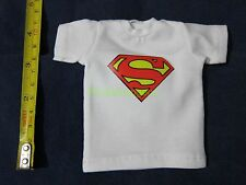 """1/6 Scale Tee White Short Sleeves T-Shirt Superman For 12"""" Action Figure"""