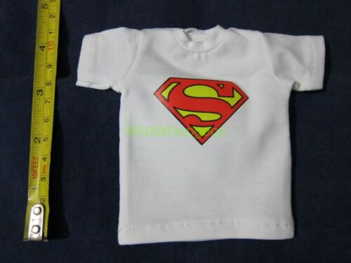 "1//6 Scale Tee White Short Sleeves T-Shirt Superman For 12/"" Action Figure"