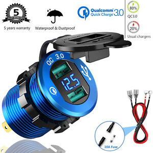 Dual-USB-Quick-Charge-3-0-Car-Charger-Plug-Socket-For-Car-Boat-Motorcycle-Truck