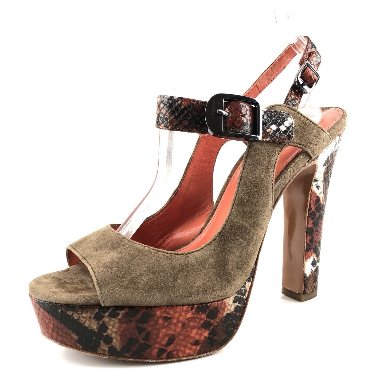 Via Spiga Brown Suede Ankle Strap Reptile Print Sandals Womens Size 8 M