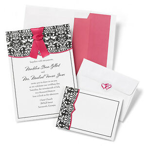 black fuchsia pink damask wedding invitation rsvp kit with heart seal