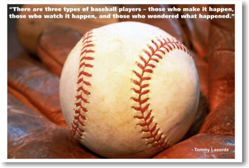 Motivational POSTER glove 3 Types of Baseball Players
