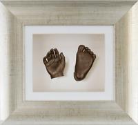 3d Baby Casting Kit Gift Bronze Hand & Feet Antique Silver Frame White Card