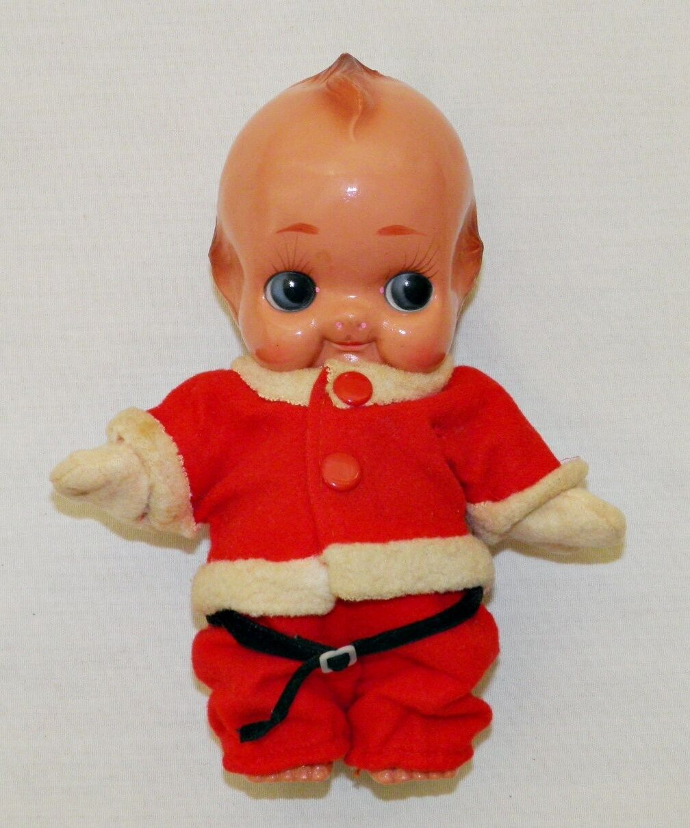 Rara Muñeca De Santa Navidad Kewpie Encordada brazos Celuloide Vintage Japón