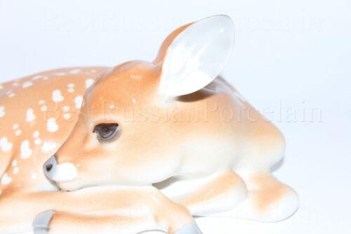 Deer Russia Russian Imperial Lomonosov porcelain Figurine Sculpture Big Fawn