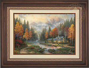 Thomas Kinkade Evening at Autumn Lake 12 x 18 S//N Limited Edition Paper