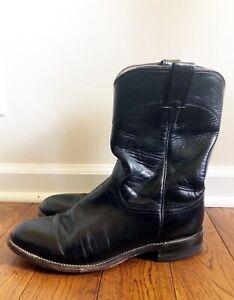 60caf9c421b Details about Justin Western Cowboy Boots #3133 Jackson Roper Black Leather  Men's Size 8.5D