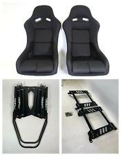 Pair 2 F1spec Type 5 Black Cloth Racing Bucket Seats Jdm For Ek9 96 00