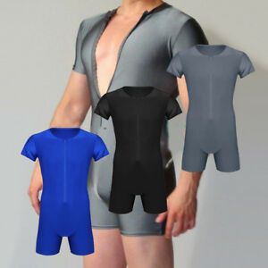 Men-039-s-Lycra-Solid-Wrestling-Singlet-Leotard-Bodysuit-Jumpsuit-Underwear-Modified