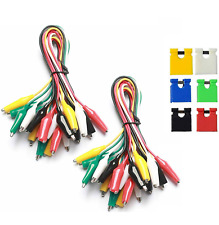 2x 10pc Metered Color Insulating Test Lead Cable Set Double Ended Alligator Clip