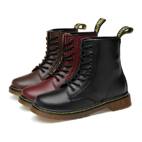 Mens Womens Lace Up Ankle Boots Low Flat Heel Combat DOC Leather Martine Shoes
