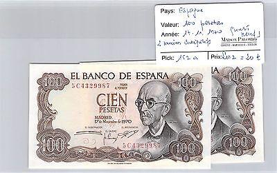 2 Billets Espagne - 100 Pesetas - 17.11.70 -quasi Neufs- 2 NumÉros ConsÉcutifs !