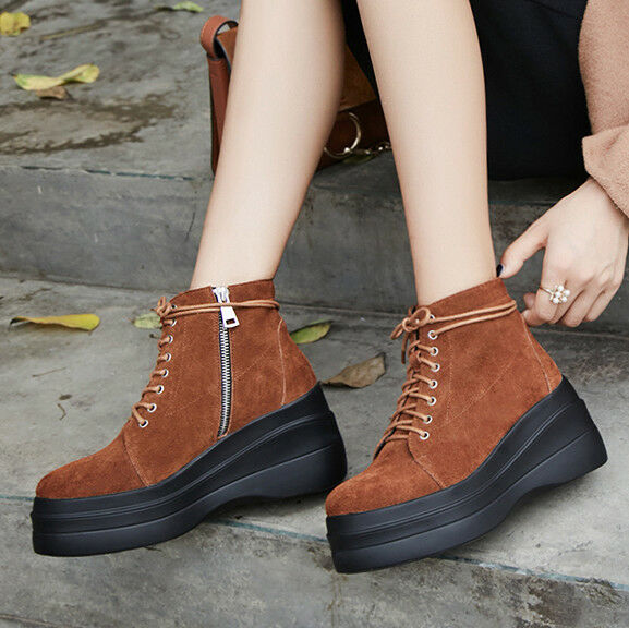 Womens Lace Up Outdoor Suede Leather Platform Combat Hiking Casual Ankle Boots
